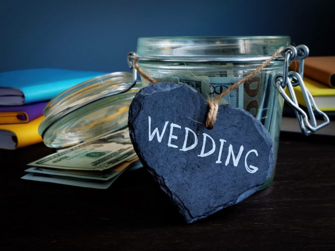 Savings for wedding and label as heart.