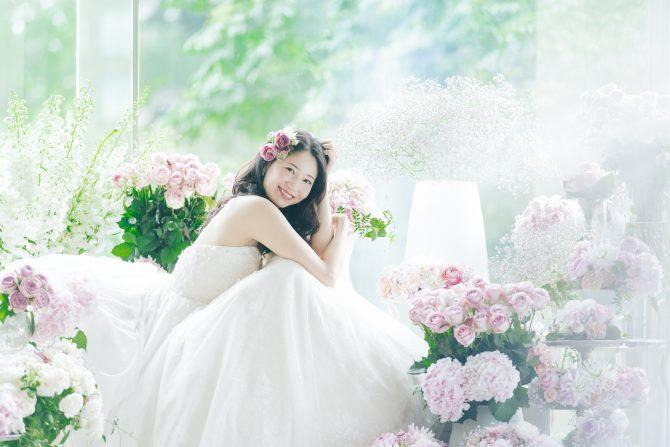 花嫁 緑 背景