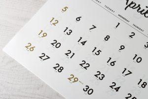 顔合わせの日取りを決めるカレンダー