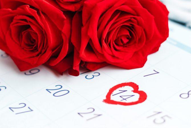 ハートの印のついたカレンダーの記念日