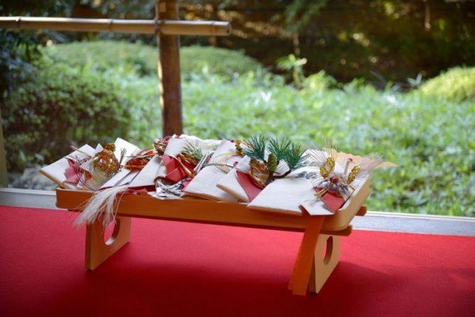 料亭「錦水」で交わす結納の儀